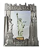 New York Souvenir Metal Pewter Picture Frame with Statue of Liberty Empire State Building Freedom Tower NYC Skyline Fits 4x6 Photo