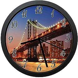 YiiHaanBuy Manhattan Bridge with Night Lights Over Hudson River Brooklyn Popular Town - Unique Decorative Wall Clock, Silent Quartz Movement - 10inch