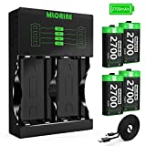 Mlorine Compatible with Xbox One Battery 4 Pack x 2700mAh Nimh Rechargeable Xbox Accessories Controller Batteries and Charger for Xbox One/Xbox One S/Xbox One X/Xbox One Elite Wireless Controller