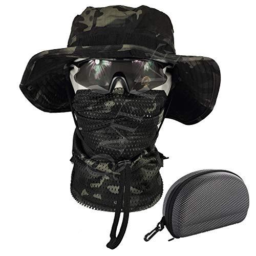 QMFIVE Gläser Taktische Boonie Hut Schal Unisex Camouflage Abgerundete Hut Fischer (Schwarze Tarnfarbe)