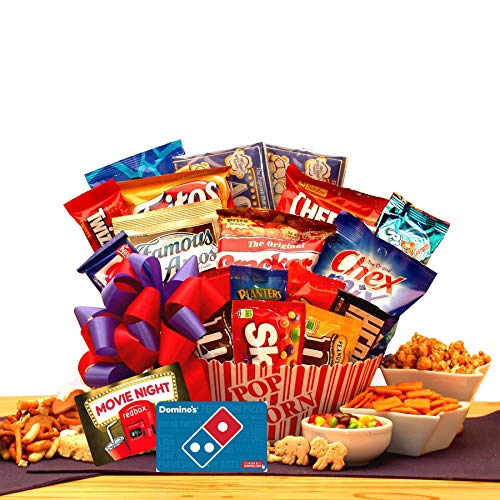 Free 1-3 day delivery- Movie Lovers Ultimate Movie Night Gift - 10.00 Redbox Card & 10.00 Dominos Pizza gift card, popcorn, chocolates, snacks and more