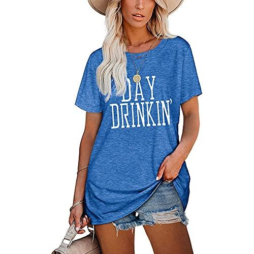 Mayntop Camiseta para mujer de verano con estampado de palabras, para el día de beber, suelta, manga corta, blusa con cuello redondo, C-azul, 44