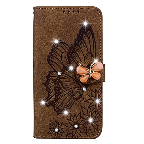 Blllue Funda De La Cartera Compatible Con El Iphone 11, Glitter Bling Diamante Retro Mariposa PU Cuero Cubierta Del Teléfono Para El Iphone 11 - Marrón