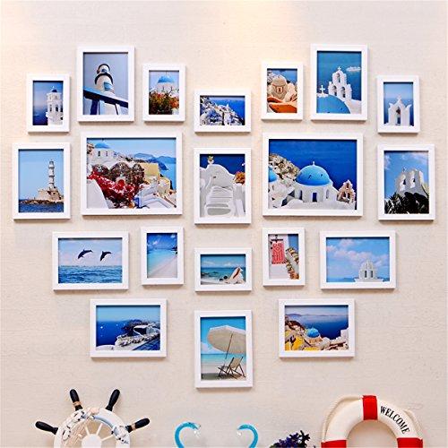 Set van 20 fotolijsten wit modern massief hout maten 98 * 125 cm, incl. accessoires, voor het maken van een fotolijst collage/fotogalerij