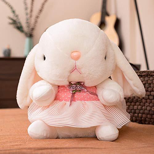 CPFYZH 40Cm Lindo Vestido a Rayas de Dibujos Animados muñeco de Conejito de Peluche bebé Juguete calmante Regalo de cumpleaños para Chico chica-40Cm_Pink