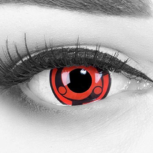 Meralens 1 Paar Farbige Anime Manga Kontaktlinsen Ohne Stärke mit gratis Kontaktlinsenbehälter - Sharingan Madara Naruto in rot schwarz perfekt zu Hereos of Cosplay, Halloween rote 12 Monatslinsen