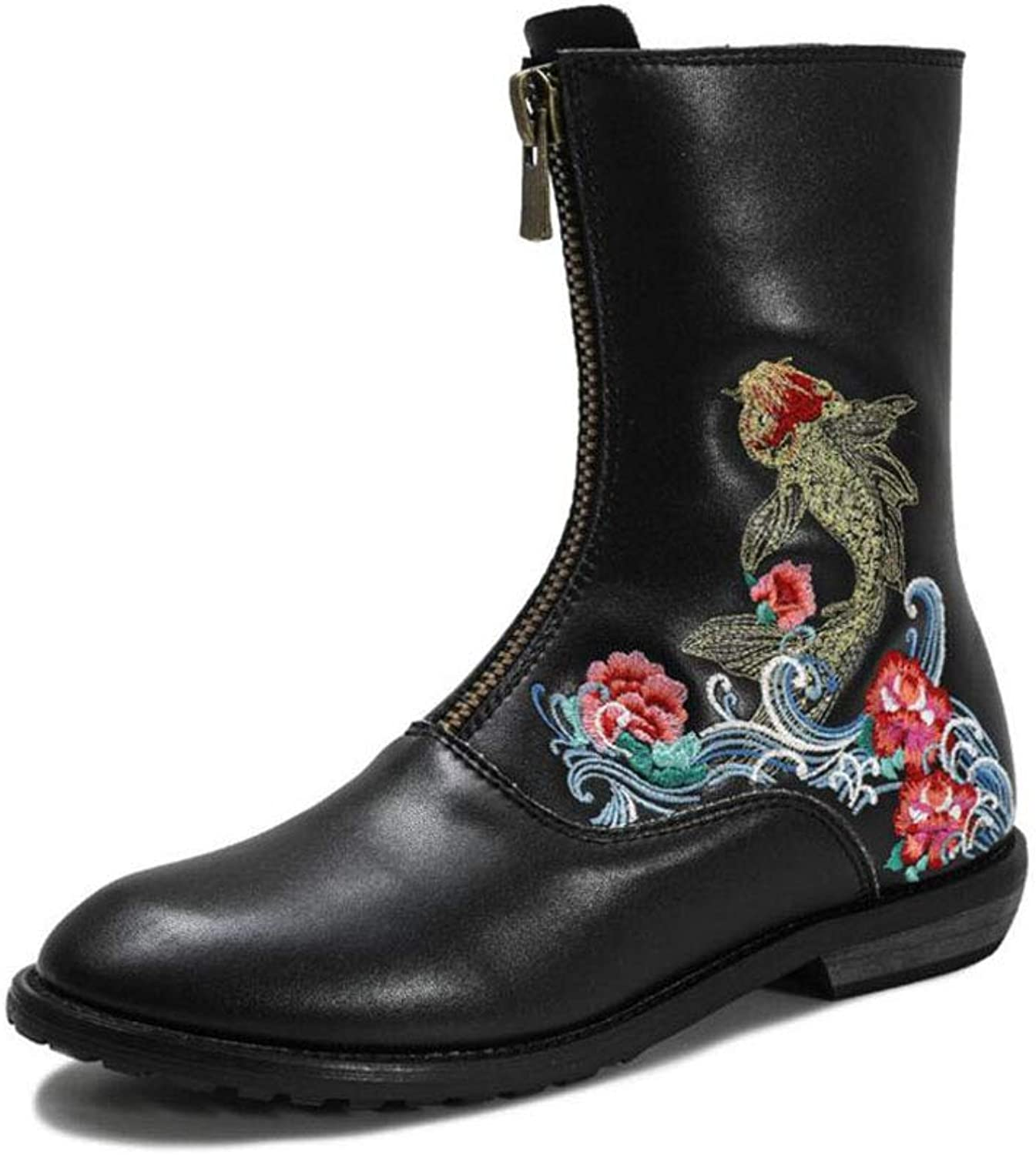 Women's Booties, Autumn Winter New National Style Embroidery Front Zipper Boots Fashion Casual shoes (color   Black, Size   35)