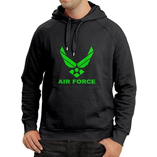 lepni.me Sudadera con Capucha United States Air Force (USAF) - U. S. Army, USA Armed Forces (Medium Negro Verde)