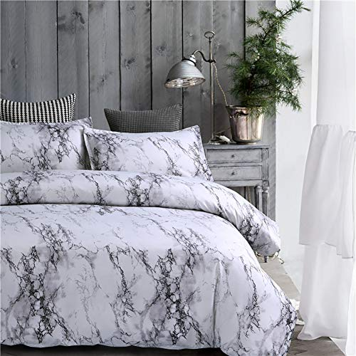 Lanqinglv Bettwäsche 150x200cm Reißverschluss Grau & Weiß Marmor Muster Bettwäsche 2-teilig Mikrofaser Bettbezug mit Kissenbezug (Grau,150x200)