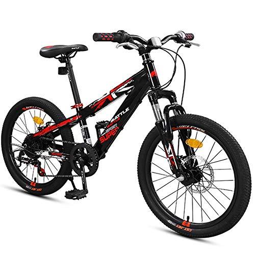 DJYD Bikes Jungen Berg, Berg Trail Bikes mit Doppelscheibenbremse, Vorderradaufhängung Aluminium-Rahmen All Terrain Berg Fahrrad, Schwarz, 20-Zoll-7-Gang FDWFN