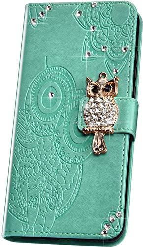 JAWSEU Kompatibel mit Samsung Galaxy A10 Hülle Lederhülle,3D Eule Mandala Glitzer Diamant Flip Case Wallet Tasche Brieftasche Schutzhülle Ledertasche Flip Hülle Ständer für Galaxy A10 (Grün)