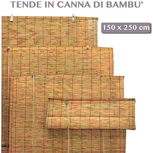 Cortina enrollable de caña de bambú, uso exterior (jardines, etc.), cortina de sol para decoración de exteriores, 150 x 250 cm