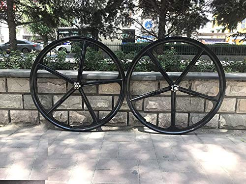 29' Mag Wheel Set F and R 100mmx120mm For Rotary Single Speed Flywheel /700c Magnesium Wheels/Black/Disc Brake - for Beach Cruisers, MTB's, and Gas Powered Bicycles