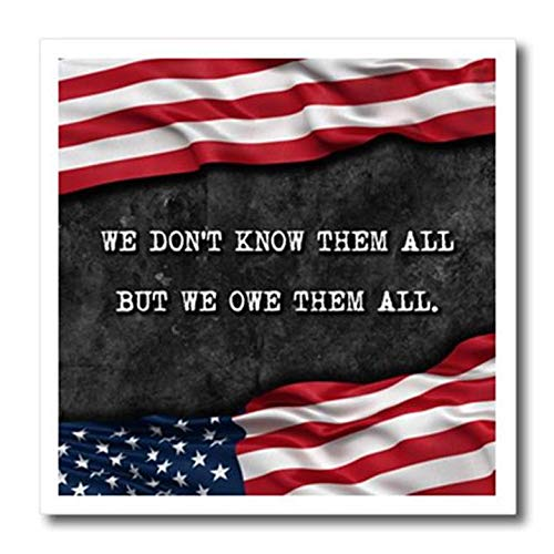 """3dRose We Do Not Know Them All But We Owe Them All Veterans Patriotic Quote Iron On Heat Transfer, 10"""""""
