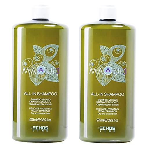 Echosline Maqui - Champú hidratante con ingredientes naturales Maqui 3, loción vegana 100% con certificado Ecocert (2 x 975 ml)