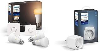 Philips Hue White Ambiance Pack de 3 bombillas LED inteligentes E27, puente de conexión y Smart Button, luz blanca de cálida a fría + Philips Hue Enchufe Smart Plug, compatible con Bluetooth y Zigbee