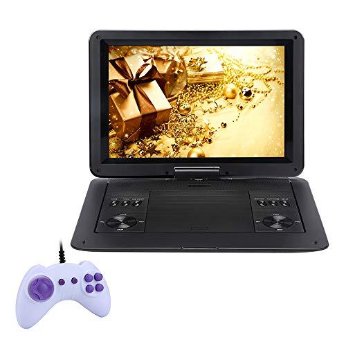 FGKLU Reproductor de CD Portátil, Brillo Alto Pantalla Giratoria, con Batería Recargable, Control Remoto, Admite Tarjeta SD y USB, para Niños, Ancianos