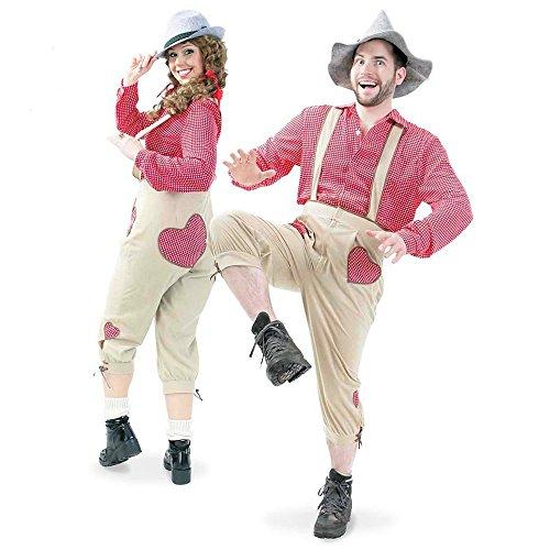 Latzhose Hose Herzchen, Trachtenhose für Damen und Herren für Oktoberfest oder Karneval (L)