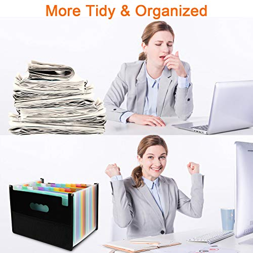 Expanding File Folders with Mesh Bag, 24 Pockets Accordian File Organizer, Expandable File Box with Cloth Edge Wrap, Portable Accordion File Organizer, Filing Box A4 Letter Size for Office, School Photo #4