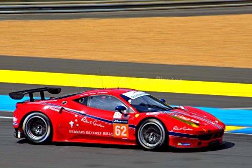Eine 45,7x 30,5cm Fotografieren Hochwertiger Fotodruck of a Ferrari 458Italia zum Aufstecken Racing AT die 24Stunden von Le Mans 2015Landschaft Foto Farbe Bild Fine Art Print. Fotografie von Andy Evans Fotos