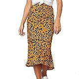 TUDUZ Mujeres Falda Estampado De Leopardo Enaguas Larga Vintage Falda Plisada Casual De Cintura Alta (C-Amarillo, M)