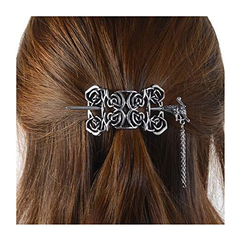 Viking Celtic Hair Slide Hairpins- Viking Hair Accessories Celtic Knot Hair Barrettes Antique Silver Hair Sticks Irish Hair Decor for Long Hair Jewelry Braids Hair Clip With Stick (ID-D3)