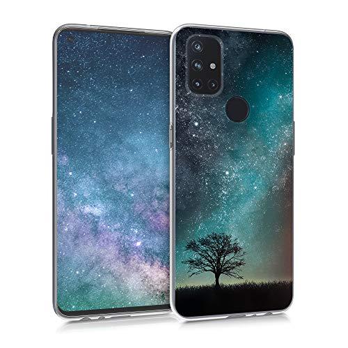 kwmobile Hülle kompatibel mit OnePlus Nord N10 5G - Handyhülle - Handy Hülle Galaxie Baum Wiese Blau Grau Schwarz