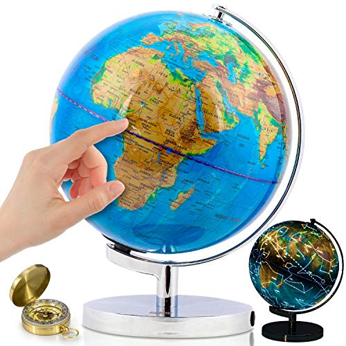 """World Globe with Illuminated Constellations – 9"""" Light Up Globe for Kids & Adults – Interactive Earth Globe Makes Great Educational Toys, Office Supplies, Teacher Desk Décor, More by Get Life Basics"""