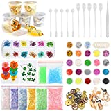 Sntieecr 60 Pack Resin Jewelry Making Supplies Kit with Glitter, Sequins, Mylar Flakes, Dry Flowers, Beads,...