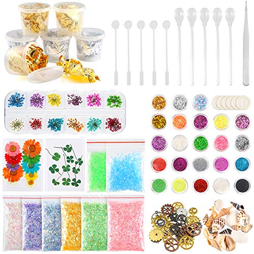 Sntieecr Juego de accesorios para hacer joyas con purpurina, lentejuelas, copos de mylar, flores secas, cuentas, engranajes de ruedas, láminas, piedra de vidrio para decoración de uñas y manualidades