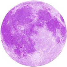 Adesivo de parede 3D LIOOBO – 8 Lua Luminosa – Papel de parede de lua removível que brilha no escuro – Adesivo de arte par...
