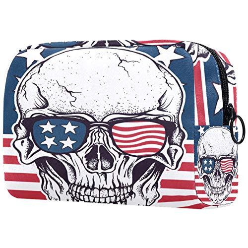 Bolsa de cosméticos para Mujeres Bandera Americana de época con cráneo Bolsas de Maquillaje espaciosas Neceser de Viaje Organizador de Accesorios