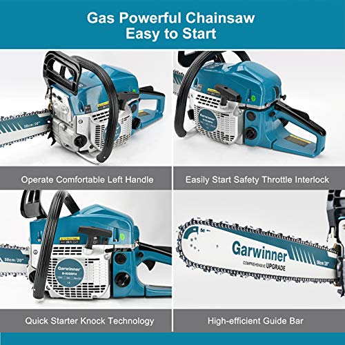 52cc Gas Chainsaws 20 Inch Bar Power Chain Saws, Gas Powered Chainsaw 2 Stroke Handed Petrol Gasoline Chain Saw for Cutting Wood Outdoor Garden Farm Home Use with Tool Kit
