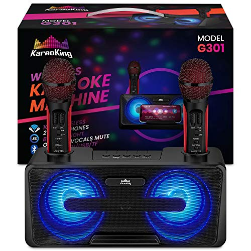 KaraoKing New 2020 Karaoke Machine – for Adults and Kids – 2 Wireless Karaoke Microphone, SD...