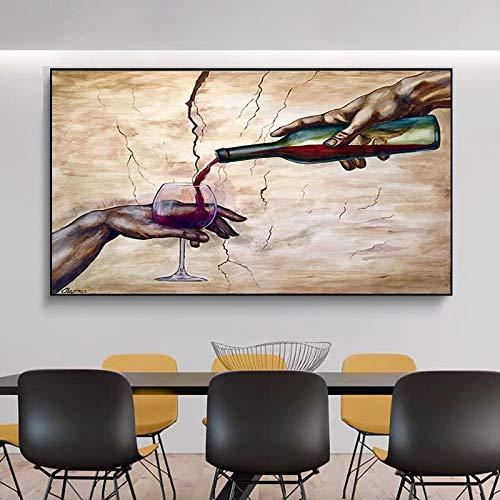 Arte abstracto moderno con dos manos, carteles e impresiones de copa de vino tinto, pintura en lienzo, cuadros artísticos de pared para la decoración de la sala de estar, 72x90cm sin marco