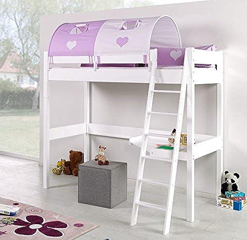 Froschk g24 Hochbett Renate Multifunktionsbett mit Schreibtisch Bett WeißStoffset Lila Weiß Matratze ohne