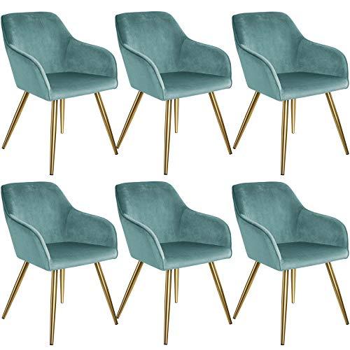 tectake 800863 Set de Seis sillas aterciopeladas, Juego de Seis sillas de Comedor tapizadas en Terciopelo, Conjunto de sillas Elegantes para la Cocina, Sillones para despacho (Azul Turquesa-Dorado)