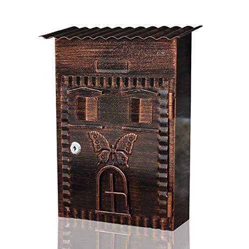 ZSIF Briefkasten - Schmiedeeisen Vintage verzinktes Blatt Antik Kupfer Lock Home Outdoor Wand idyllischen Briefkasten, geeignet for Villen, Innenhöfe, Home, 34X22X9.5cm