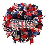 Patriotic Wreath Independence Day Decoration Wreath 4th of July Memorial Day Handcrafted Hanging Bald Wreaths, Glory Patriotic American Flag Wreath for Front Door Window Wall Decoration, 19Inch (C)