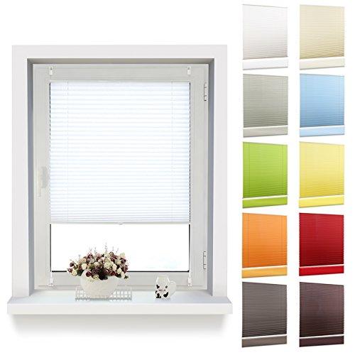 OUBO Plissee Klemmfix 60 x 120 cm (BxH) Weiß, Jalousie Faltrollo ohne Bohren mit Klemmträgern für Fenster und Tur
