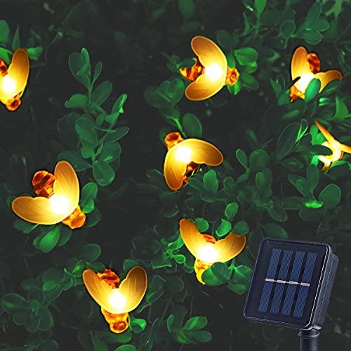 ITICdecor - Ghirlanda luminosa a energia solare, con abei, 50 LED, 8 modalità esterne, impermeabile, terrazza, interno, decorazione per casa, patio, festa, Natale, albero bianco caldo