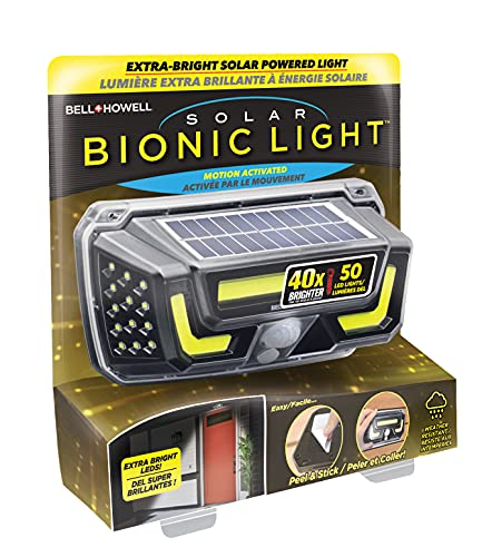 Bell+Howell Solar Bionic Light Motion Sensored Wall Light in 2 Modes, 50-LED Bright Lights, Wireless Waterproof, Peel & Stick Easy Install, Indoor & Outdoor Lighting Great for Garage Front Door Shed