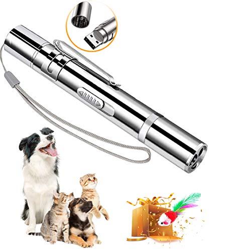 Katzenspielzeug, interaktiv, Chaser,USB, wiederaufladbar, Multi-Muster, lustige und Mini-Taschenlampe, interaktives LED-Licht, Unterhaltungswerkzeug für Haustiere (2 Stück)