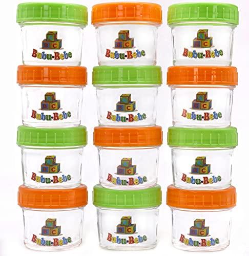 Vasetti per alimenti per bambini, contenitori per purea di vetro,113,4 g, con coperchi ermetici ,12 barattoli per neonati con etichette, pennarello e spazzola per la pulizia, non BPA