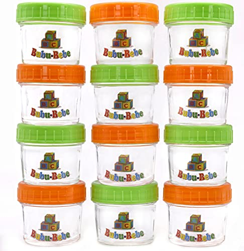 Glass Baby Food Storage Containers - Glass Puree Jars - 4oz Baby Food Jars -Leakproof and Airtight Lids -12 pcs Baby Jars with Labels, Marker and Cleaning Brush – Non-BPA and Safe Materials