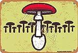 BIGYAK Dibujos animados de hierro hongo aspecto vintage 20 x 30 cm Decoración de pintura para el hogar, cocina, baño, granja, jardín, garaje, citas inspiradoras decoración de pared