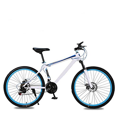 Mountain Bike Adult 26 Inch 21 Speed Shock Dual Disc Brakes Student Bicycle Assault Bike Luxury Folding Car,Blue-26in