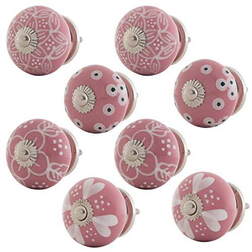 Knober - Set di 8 pomelli per mobili, dipinti a mano, in ceramica, stile rustico, shabby chic, 40 mm