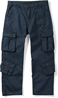 OCHENTA Boys' Cotton Military Cargo Pants, 8 Pockets Casual Outdoor