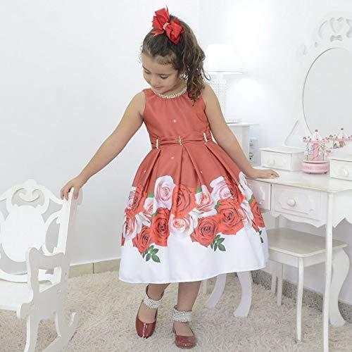 vestido infantil floral vermelho com bordado na gola